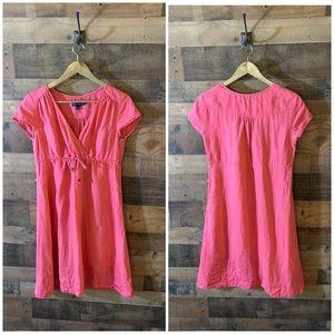 Boden Linen Tie Waist Mini Pink Dress